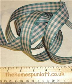 1 yd Green Tan Homespun Check Ribbon 2.25cm wide