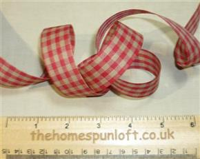 1 yd Red/Tan Homespun Check Ribbon 2.25cm wide