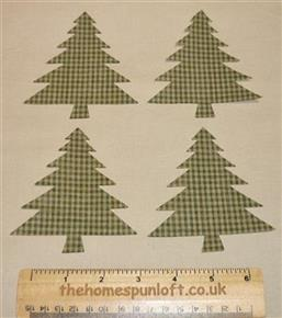 4 IRON ON Evergreen Tree Fabric Die Cuts