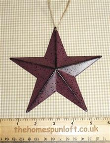 "5 1/2"" Burgundy and Black Primitive Barn Star"