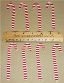 8 IRON ON Candy Cane Fabric Die Cuts