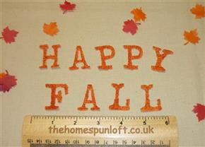 "IRON ON Letters ""HAPPY FALL"" Die Cuts"