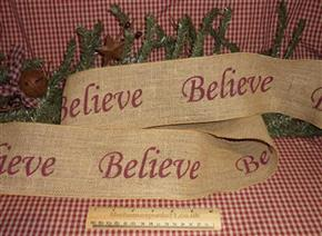 Primitive Believe Christmas Hessian Holiday Ribbon