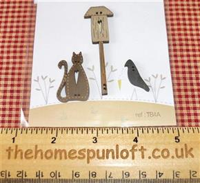 Primitive Birdhouse and Cat Wooden Buttons