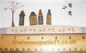 Primitive FALL Houses and Stars Wooden Buttons