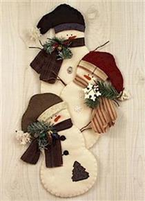 Snowman Trio Felt Fabric Wall Hanging Pattern