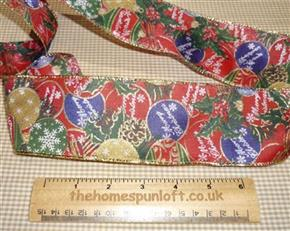 1 Yard Glittery Christmas Bauble Ribbon