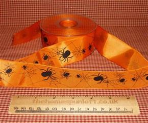 1 Yard Spooky Spiders Halloween Ribbon