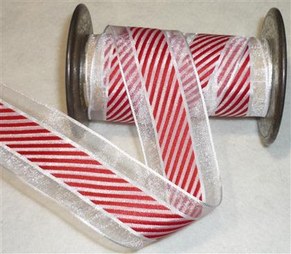 1 Yd Red/White Candy Cane Stripe Christmas Ribbon
