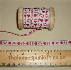 1 yd Barn Red Tan Heart Primitive Ribbon 1cm wide