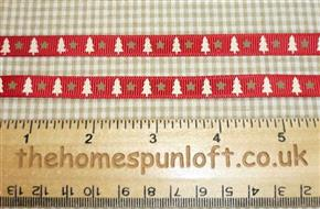 1 yd Christmas Tree and Star Ribbon 1cm Wide