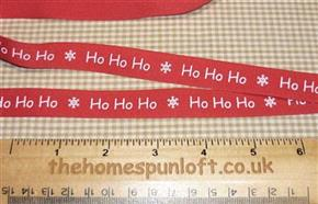 1 yd Ho Ho Ho Christmas Primitive Ribbon 1.5cm