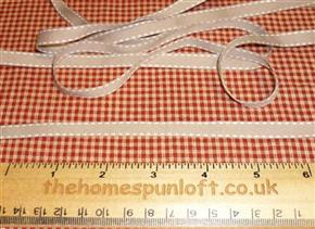 1 yd Latte Ribbon with Stitched Detail 1cm wide