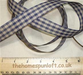 1 yd Navy/Tan Homespun Check Ribbon 2.25cm wide