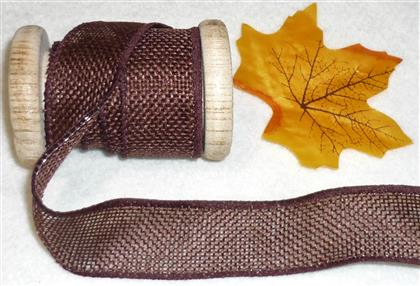 1 yd Wired Autumn Harvest Brown Burlap Ribbon