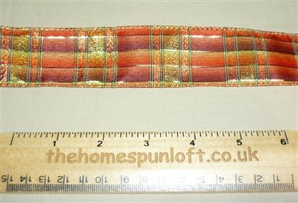 1 yd Wired Gold Checked Harvest Ribbon