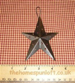 10cm Dark Brown Tin Primitive Barn Star
