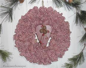 "11"" Barn Red Homespun Wreath With Wooden Heart"