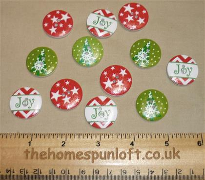 12 Christmas Holiday Joy Wooden Buttons