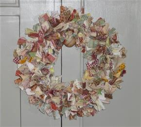 "12"" Cotton Fabric Raggy Wreath"