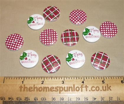 12 Merry Christmas Holiday Wooden Buttons