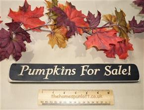 "12"" Primitive Pumpkins For Sale Black Wooden Sign"