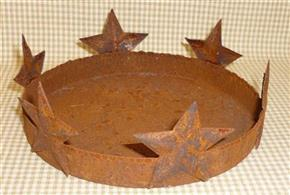13cm Rusty Tin Primitive Candle Pan with Stars