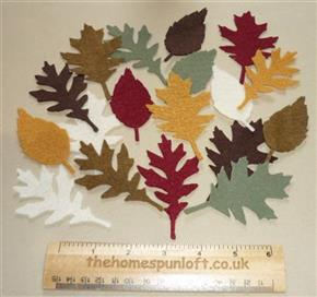 18 Die Cut Felt Assorted Leaves Autumn Halloween