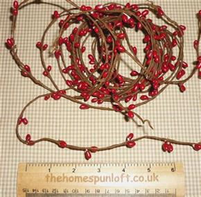 18ft Primitive Barn Red Wired Pip Berry Rope