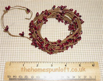 18ft Primitive Burgundy Wired Pip Berry Rope