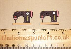 2 Sewing Machines - Wooden Button Pack