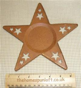 20cm Rusty Tin Primitive Star Candle Plate