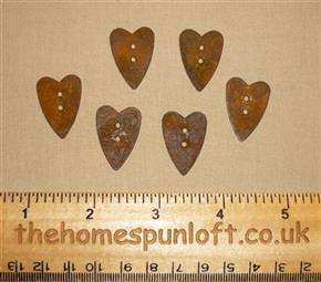 2.5cm Rusty Tin Primitive Heart Button