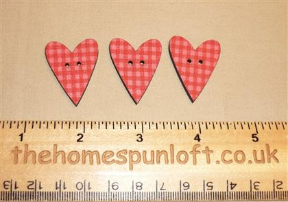 3 Country Primitive Heart Wooden Buttons