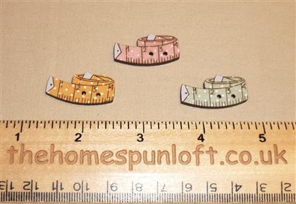 3 Sewing Tape Measures - Wooden Button Pack