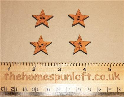 4 Country Primitive Star Wooden Buttons