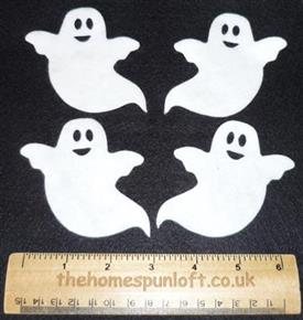 4 Die Cut Felt Cream Ghosts Autumn Halloween