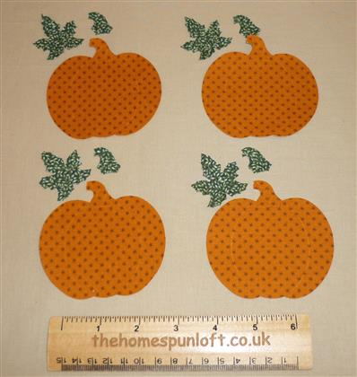 4 IRON ON Autumn Fall Pumpkin Fabric Die Cuts