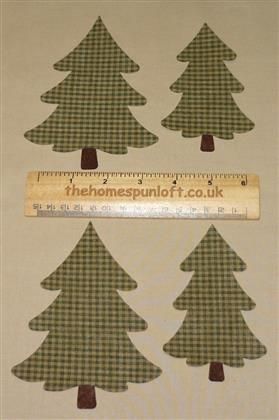 4 IRON ON Homespun Trees Fabric Die Cuts