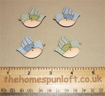 4 Spring Bird Wooden Sew Thru Buttons