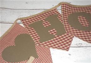 "44"" Homespun HOME Heart Primitive Bunting/Garland"