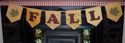"45"" Autumn FALL Harvest Primitive Bunting/Garland"