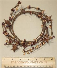 "5"" Pip Berry Candle Ring Autumn Browns Rusty Stars"
