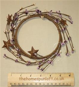 "5"" Pip Berry Candle Ring Mauve/Cream Rusty Stars"
