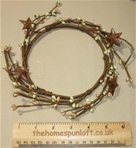"5"" Pip Berry Candle Ring Peach/Green Rusty Stars"