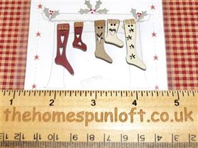 5 Primitive Christmas Stocking Wooden Buttons