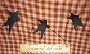 "5ft Primitive Black Tin 3"" Star Garland"