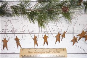 "5ft Primitive Rusty Tin 2"" Star Garland"