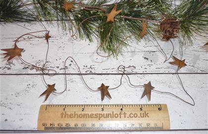 "5ft Primitive Rusty Tin Wire Garland with 1"" Stars"
