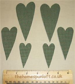 6 IRON ON Primitive Homespun Heart Die Cuts